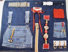 Masculine Style Bib Overalls on Blue Denim Fidget, Sensory, Activity Quilt Blanket by TotallySewn on Etsy