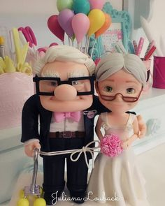 1 million+ Stunning Free Images to Use Anywhere Amazing Wedding Cakes, Unique Wedding Cakes, Super Torte, Disney Up, Cute Couple Art, Fondant Toppers, Wedding Glasses, Sugar Craft, Miniature Crafts