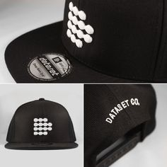 Dotted Logo snapback in black by #DatasetClothing. Limited to 12 pieces. Available on-line only at www.feeldataset.com