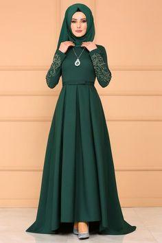 Modaselvim RULES Pleated Peplum Evening Dresses Emerald Source by Hijab Evening Dress, Hijab Dress Party, Nikkah Dress, Evening Dresses, Muslim Women Fashion, Modern Hijab Fashion, Abaya Fashion, Fashion Dresses, Hijabi Gowns