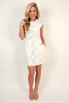 Queen's Lace Mini Dress in White