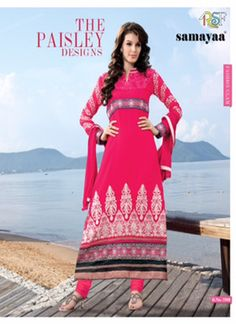 Evelyn Magenta Coloured Georgette  Embroidered Dress Material