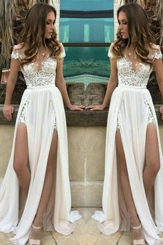 Cheap White/Ivory Lace Wedding Dress Beach Bridal Gown A-line Wedding Gown - New ideas Ivory Lace Wedding Dress, Long Wedding Dresses, Wedding Gowns, Prom Dresses, Bridesmaid Dresses, After Wedding Dress, Chiffon Dresses, Wedding Rehearsal Outfit, Quirky Wedding Dress