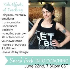 "SIDE EFFECTS OF COACHING include but are not limited to:  physical mental & emotional transformations  a newfound positive outlook on life  a strong sense of purpose & fulfillment  the ability to help others dream big & see their dreams come true too  freedom  Being a coach has completely changed my life. I went from being a ""professional victim"" to being completely intentional about my life and time. I have learned how to fight my depression head on by focusing on helping others who need…"