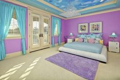 love the colors on the ceiling in this girl's room