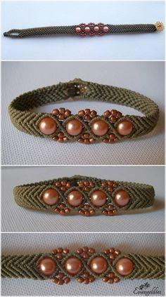 Diy Jewelry Ideas : macrame bracelet, combinations in beads and thread. Video tutorial Diy Jewelry Ideas : macrame bracelet combinations in beads and thread. Diy Bordados, Armband Tutorial, Beads Tutorial, Chevron Bracelet, Beaded Jewelry, Handmade Jewelry, Ideas Joyería, Macrame Bracelets, Macrame Knots