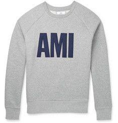 AMIFelt-Appliqué Fleece-Back Cotton-Jersey Sweatshirt
