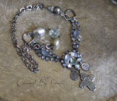Morning Stars vintage assemblage necklace cross by crownedbygrace
