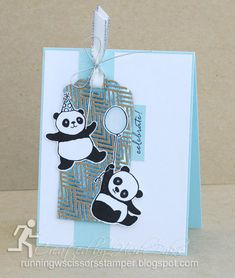 Happy New Year! Stampin' Up Party Pandas by #RunningwScissorsStamper, Foil Frenzy DSP