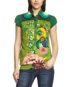 Desigual Women's Button Down Blouse Short Sleeve Shirt Caipiriña Casual Tops For Women, Trendy Tops, Blouses For Women, T Shirts For Women, Ethnic Fashion, Denim Fashion, Women's Fashion, Baggy Tops, Satin Shorts