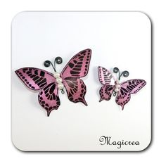 DUO PAPILLONS ROSE METAL-MAEVA - Boutique www.magicreation.fr