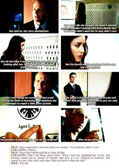 All time favorite quote thus far on Agents of SHIELD from Seeds. Coulson talking to May about Skye.