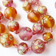 """Japanese Frosted Art Glass Millefiori Hand Knotted Dramatic Murano Bead 34"""" Long Necklace from SoCalJewelBox"""