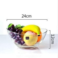 YWAWJ Large Clear Glass Wavy Salad Bowl Mixing Bowl All Purpose Round Serving Bowl Diameter 24cm #mixingbowls