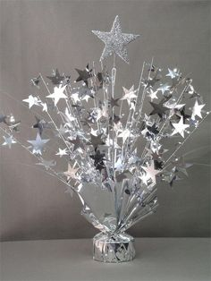 Silver star centerpieces with balloon weight New Years Eve Decorations, Wedding Aisle Decorations, Star Decorations, Prom Decor, Banquet Centerpieces, Baby Shower Centerpieces, Baby Shower Decorations, Silver Centerpiece, Star Wars Party