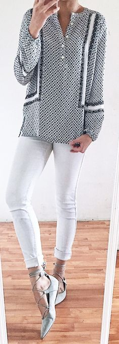 #spring #outfits Grey Pattern Blouse & White Skinny Jeans & Grey Laced Up Pumps