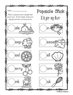 No Prep: Digraphs Coloring Picture Match Activity Sheets