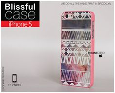 iphone 5 case - Geometric Aztec on pink galaxy print. $24.99, via Etsy.