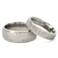 New Tree-Bark His and Hers Set Titanium Wedding Rings. $64.99, via Etsy.
