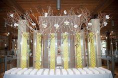 Voluminous decor on the escort card table #weddings #escortcards #floraldetail #blisschicago