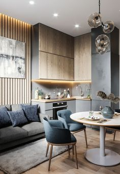 Great open plan space with modern kitchen Small Apartment Interior, Apartment Design, Interior Design Living Room, Living Room Designs, Interior Decorating, Living Room Kitchen, Home Decor Kitchen, Living Room Decor, Modern Kitchen Design