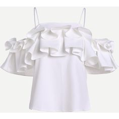 Layered Box Pleat Ruffle Top (38 AUD) ❤ liked on Polyvore featuring tops, sweaters, sexy tops, sexy short tops, ruffle trim sweater, frill top and spaghetti strap top