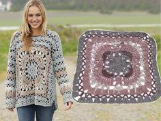 """Harvest Love - Pulôver DROPS com quadrado em croché, e ponto rendado, em """"Nepal"""". Do S ao XXXL. - Free pattern by DROPS Design"""