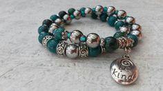 Green Orient  bracelet - Green Jaspis and Silver Hematit