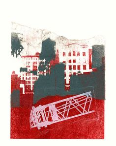 - New York with Water Towers 1. - giclee fine art print, from her original mono-type collage, for sale; by Dutch graphic woman artist Hilly van Eerten