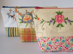Some new pouches ready for my next market, using vintage embroidery paired with new fabrics.