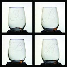 """Glass Etching - Monogram """"B"""" Etched Stemless Wine Glasses Stemless Wine Glasses, Glass Etching, Monogram, Tableware, Projects, Monogram Tote, Log Projects, Dinnerware, Dishes"""