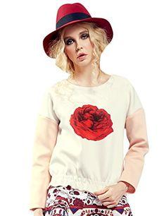 Womens Winter Elastic Hem Color Block Print Sweatshirt