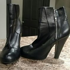 "Zipper Booties Good condition. Right bootie has small scuff on back. 4.25"" heel. Zipper on outside of each bootie Divided Shoes Ankle Boots & Booties"