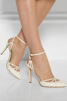 Charlotte Olympia Minx Leather Pumps in White | Lyst