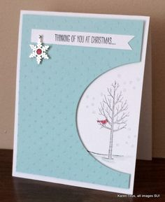 The White Christmas stamp set in a cut-out card with the All is Calm Snowflake embellisment