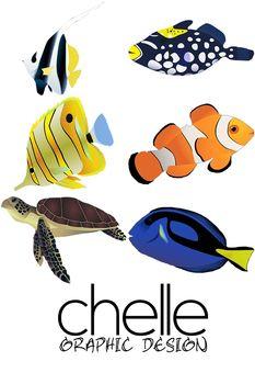 CLIP ART: 6 High Resolution Tropical Fish