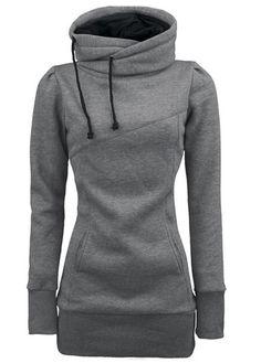 567652d412b Drawstring Design Hooded Collar Sweat Grey Shirt Bluse