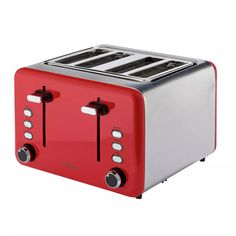 Buy Cookworks 4 Slice Toaster - Red | Toasters | Argos Black Toaster, Cord Storage, Crumpets, Red Design, Brushed Stainless Steel, Argos, Keep It Cleaner, Kitchen Decor, Toasters