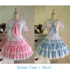 {Set}Lolita Sailor Collar School Unifrom TUTU Top and Skirt Suit Free Ship SP141014 #cosplay #CustomMade