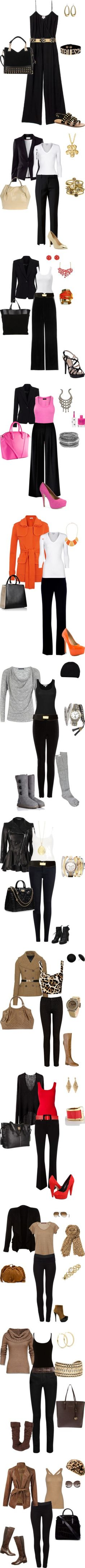 """""""Eleganta"""" by estilosymas on Polyvore Would not wear the pink or orange and the red outfit everything else is good;-)"""