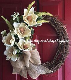Summer Chic Burlap Magnolia wreath with burlap bow, Burlap flowers, Burlap bow, Chic wreath - Sister Shack - Wreath Crafts, Diy Wreath, Grapevine Wreath, Burlap Wreath, Wreath Ideas, Easter Wreaths, Fall Wreaths, Door Wreaths, Christmas Wreaths