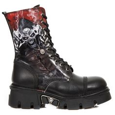 New Rock Boots Black Leather Undead Bandit Boots - MILI10 Boots Reactor Sole