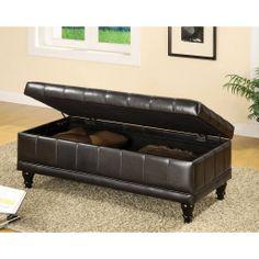 FurnitureMaxx Espresso Flip-top Bicast Leather Storage Bench Ottoman : Benches