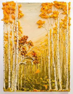30x40 Landscape By: Justin Gaffrey.  I thought this was a card at first, with tissue paper glued on for leaves, and considered it a good idea.