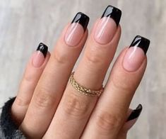 Frensh Nails, Squoval Acrylic Nails, French Acrylic Nails, French Manicure Nails, Edgy Nails, Black French Nails, Cute Nail Designs, Acrylic Nail Designs, Art Designs