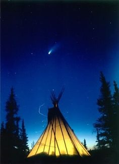 Conical tent (tee-pee) at nightfall. Heating/cooking fire illuminates from within. Native American Photos, Native American History, American Indians, Native Indian Tattoos, Native Art, First Nations, Culture, Landscape Paintings, North America