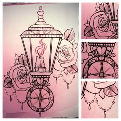 lamp tattoo, a chandelier instead of the lantern