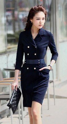 Modern Chic Double Breasted Navy Coat Dress. Military Shirt Dress