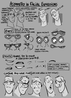 Asymmetry in Facial Expressions by Norm  Blog/Website (http://grizandnorm.tumblr.com/)   Pinned in | Art Tutorials Board http://www.pinterest.com/characterdesigh/tutorials-art/  Visit | http://www.pinterest.com/characterdesigh/ — en Estados Unidos.