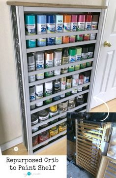 Repurposed Crib Paint Shelf  Here is an eco-friendly way to re-use an old crib. You can store a lot of paint too.